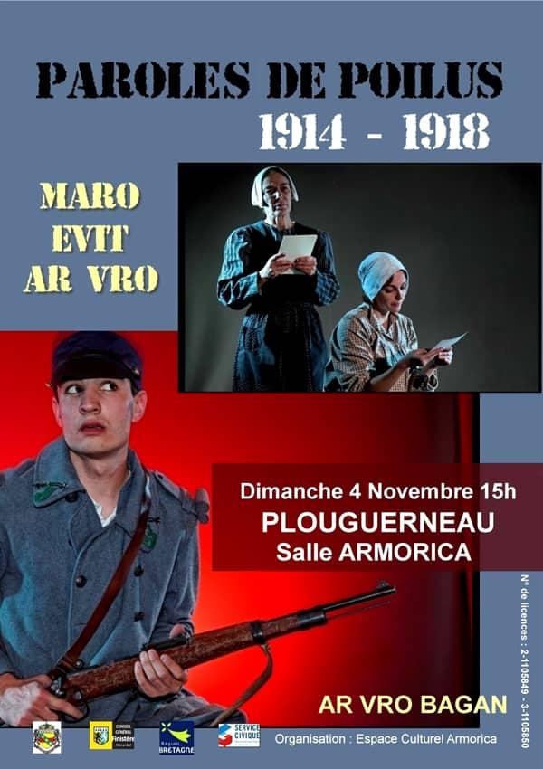 Affiche du spectacle « Paroles de poilus » de la troupe Ar Vro Bagan.