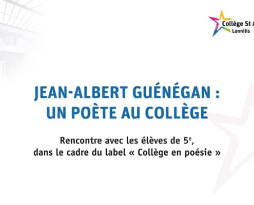 Ecran Video Jean Albert Guenegan Un Poete Au College 1